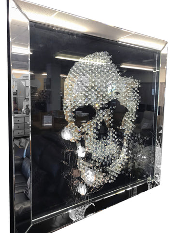 Medium Black Mirrored Crystal Square Skull Mirror
