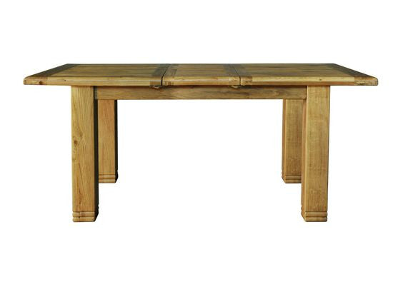 Small Extending Butterfly Dining Table in Rustic Reclaimed Weathered Distressed Oak