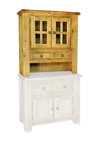 Weathered Oak Rustic Reclaimed Weathered Small Hutch Cabinet with 2 Drawers and Windowed Doors