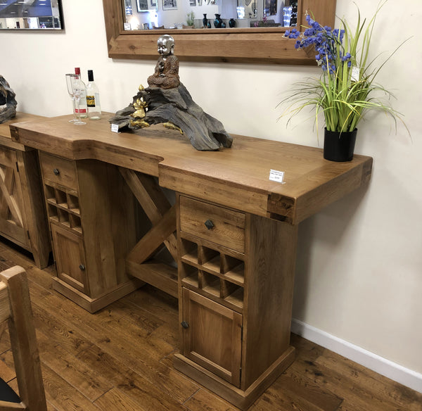 Small Reclaimed Oak Maxi Bar Table with Inbuilt Wine Rack & Storage