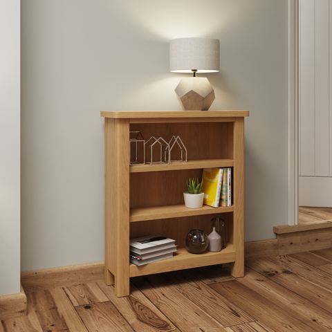 Oak & Hardwood Rustic Small Wide Bookcase