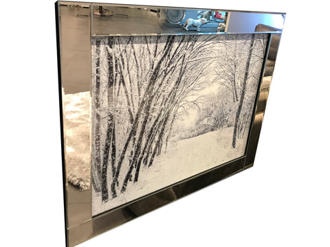 Liquid Art Mirror Frame Snow Covered Trees Wall Hanging Picture
