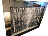 Liquid Art Mirror Frame Snow Covered Trees Walkway Wall Hanging Picture