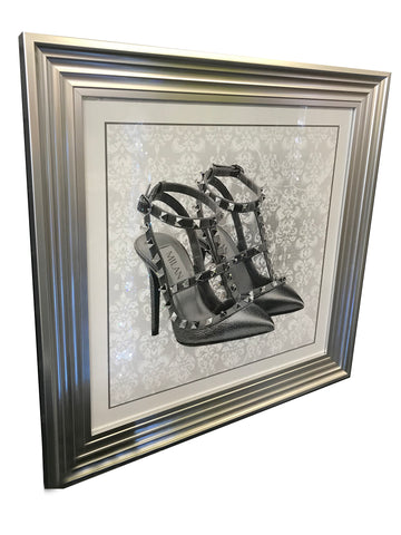 Spiked Heels with Diamantes Liquid Art Wall Art (Silver Frame)