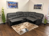 Stitch Detail Leather Look Fabric Reclining Corner Sofa