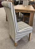 Weathered Oak Striped Fabric Dining Chair