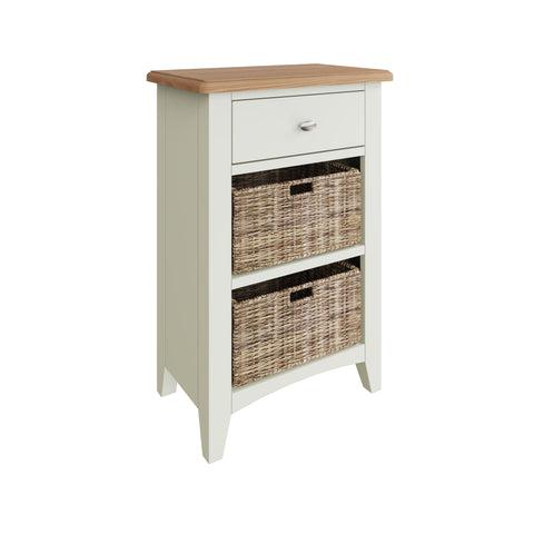 Fresh White with Oak Tops Single Drawer & Double Basket Tall Cabinet