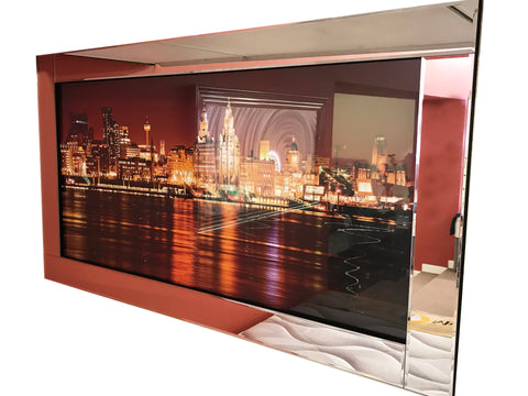 Liquid Art Mirror Frame Glitter River Thames at Night Hanging Picture