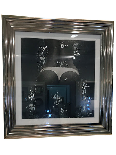 Liquid Art Silver Frame Thong Bum Wall Hanging Picture
