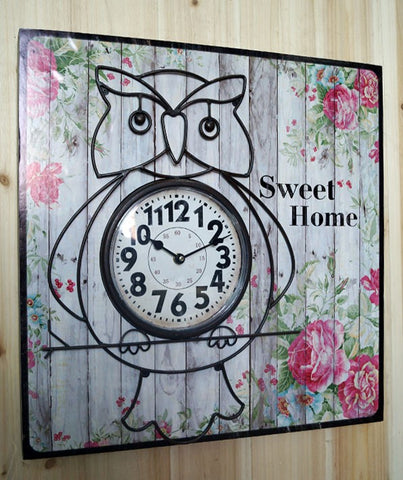 Home Sweet Home Owl Floral Shabby Chic Wall Clock