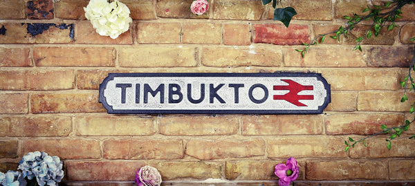 Timbukto Vintage Retro White Black Crackle Railway Sign