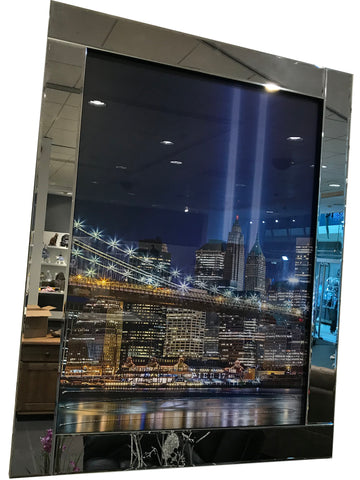 Liquid Art Mirror Frame Ground Zero at Night Wall Hanging Picture