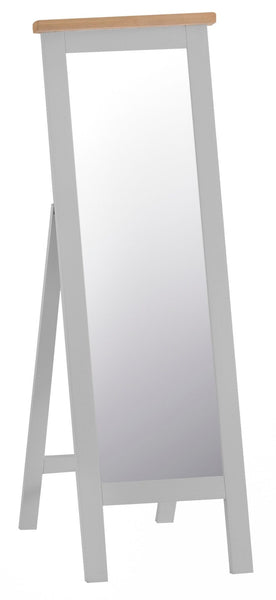Oak & Hardwood Grey Cheval Standing Mirror