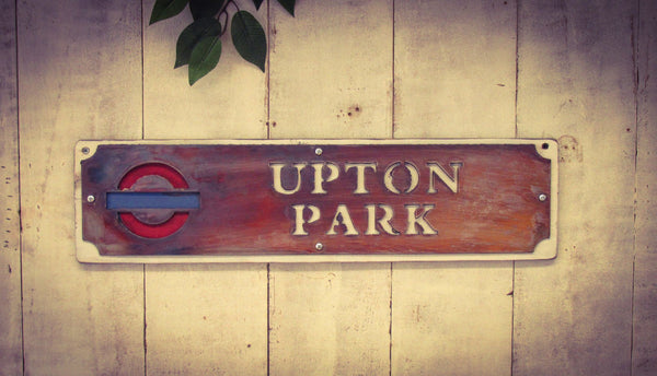 Upton Park Vintage Aged Metal Railway Sign