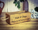 Vintage Solid Wood Fish & Chips Box