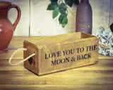 Love you to the moon and back vintage solid wood box