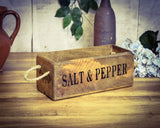 Salt & Pepper Vintage Solid Wood Box