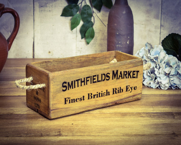 Smithfields Market Rib Eye Steak Vintage Solid Wood Box