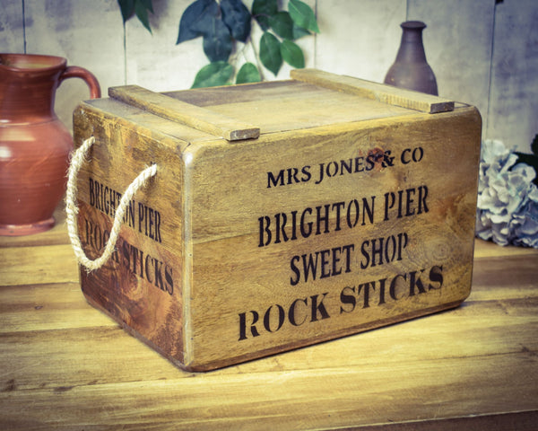 Brighton Pier Sweet Shop Stick of Rock Solid Wood Vintage Crate