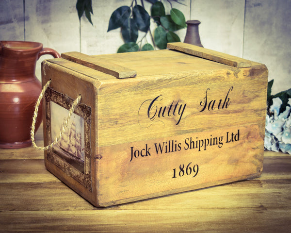 Vintage Cutty Shark Shipping Solid Wood Chest