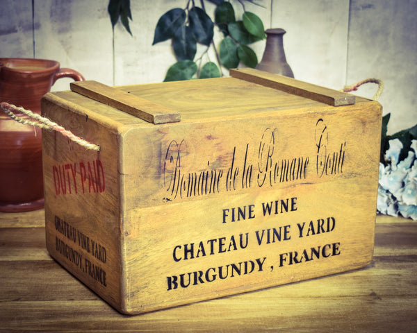 Vintage Solid Wood French Wine Chest