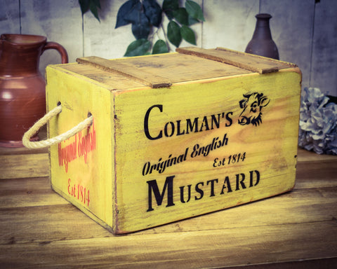 Colmans Mustard Vintage Solid Wood Chest
