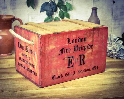 London Fire Brigade Red Painted Solid Wood Vintage Chest