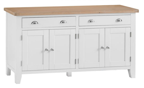 Oak & Hardwood White 4 Door Sideboard