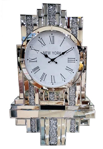 Diamante Art Deco Mirrored Bracket Wall Clock