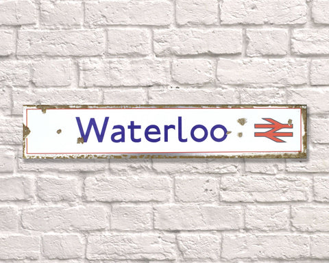 Waterloo Rail Metal Vintage Road Sign