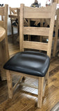 Weathered Oak Ladder Back Dining Chair & Chocolate Brown Faux Leather Seat