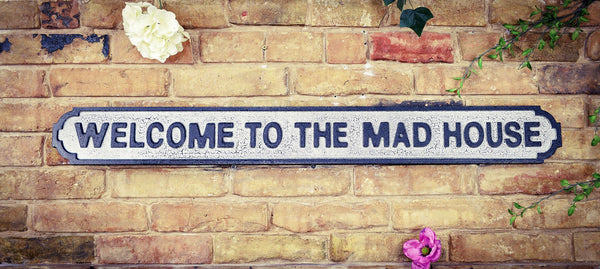 Welcome to the Mad House Vintage Road Sign
