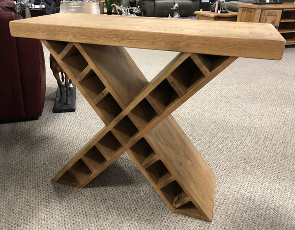 Weathered Oak Side Table with Inbuilt Wine Rack