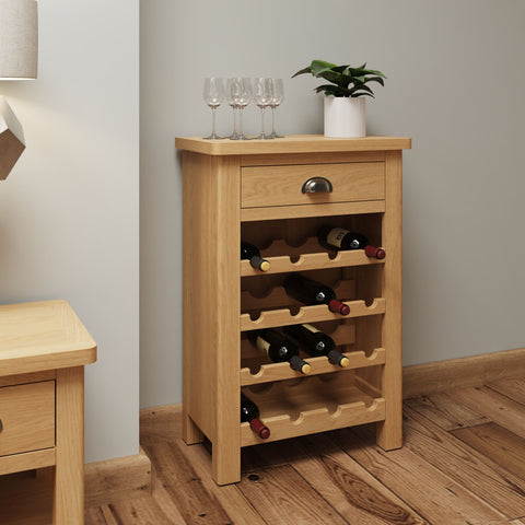 Oak & Hardwood Rustic Wine Rack Cabinet