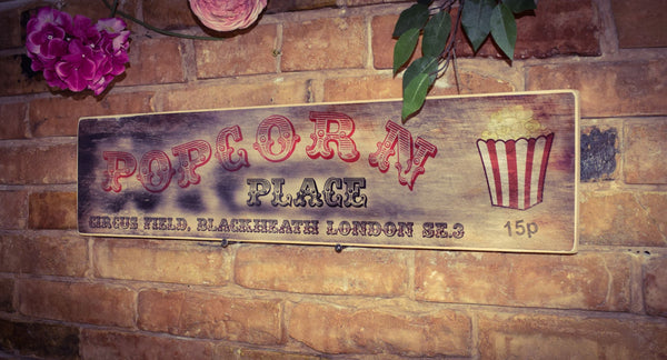 Circus Popcorn Vintage Retro Birch Wood Weathered Sign