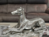 Pewter Styled Resting Lurcher Dog Ornament