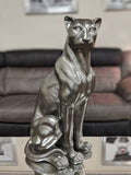 Pewter Styled Large Sitting Leopard Ornament