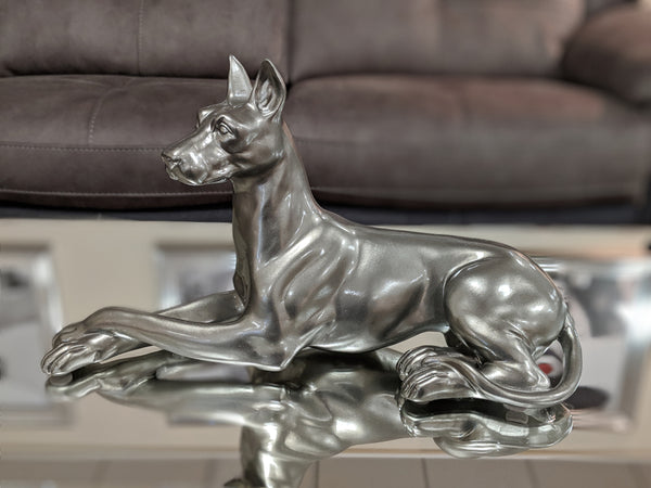 Pewter Styled Laying Doberman Dog Ornament