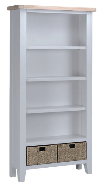 Oak & Hardwood Grey Large Bookcase