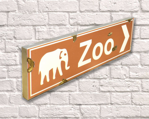 Zoo Rusted Metal Vintage Road Sign