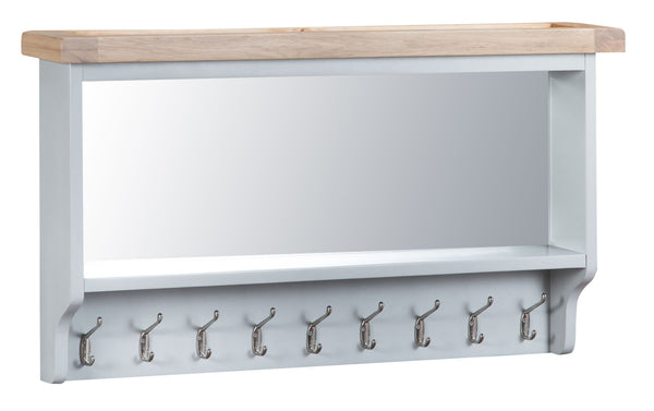 Oak & Hardwood Grey Large Hall Bench Top Mirror Coat Hanger
