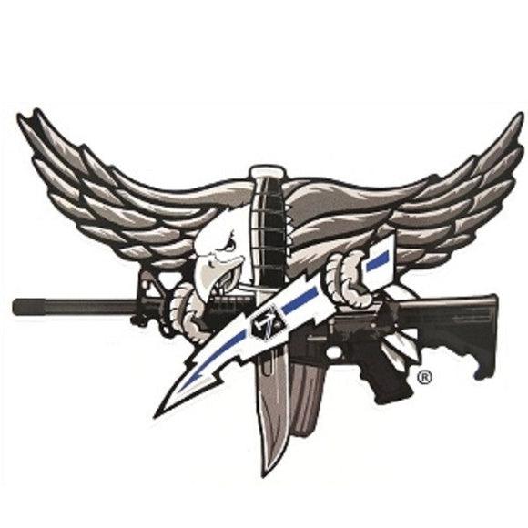 SWAT Eagle Sticker with Blue Bolt