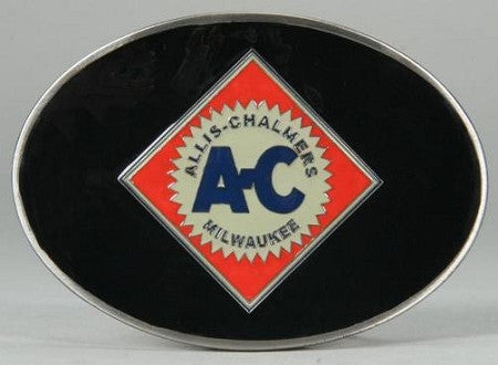 Allis Chalmers Logo Enamel Pewter Black Belt Buckle