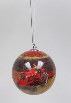 Farmall Farm Scene Ball Christmas Ornament - tractorup2