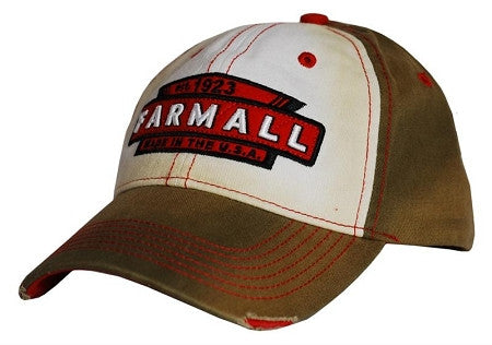 Farmall Tea Stained Distressed Cap Brown/Red - tractorup2