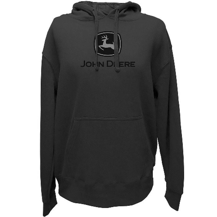 John Deere Hooded Charcoal Sweatshirt w/ Black Logo - tractorup2