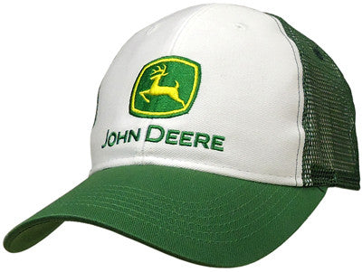 John Deere Trucker Style White and Green Mesh Hat - tractorup2