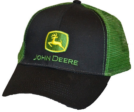 John Deere Black and Green Mesh Hat Cap - tractorup2