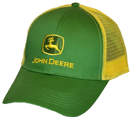 John Deere Green with Yellow Mesh Hat Cap - tractorup2