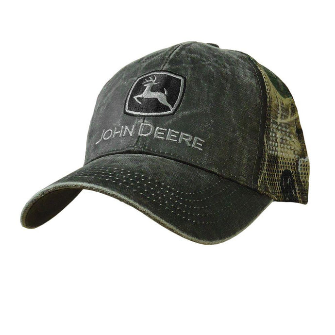 John Deere Men's Waxed Cotton Mesh Back Hat - tractorup2